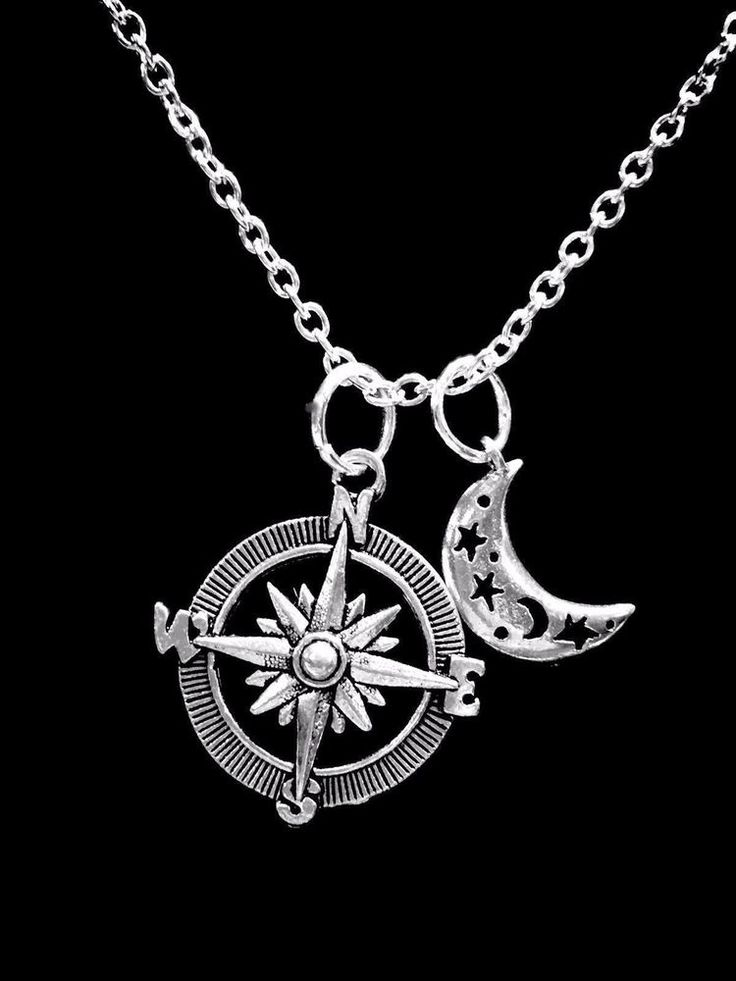 1pc Compass Rose Moon and Stars Necklace Best Friend Travel Sister Daughter BFF ...