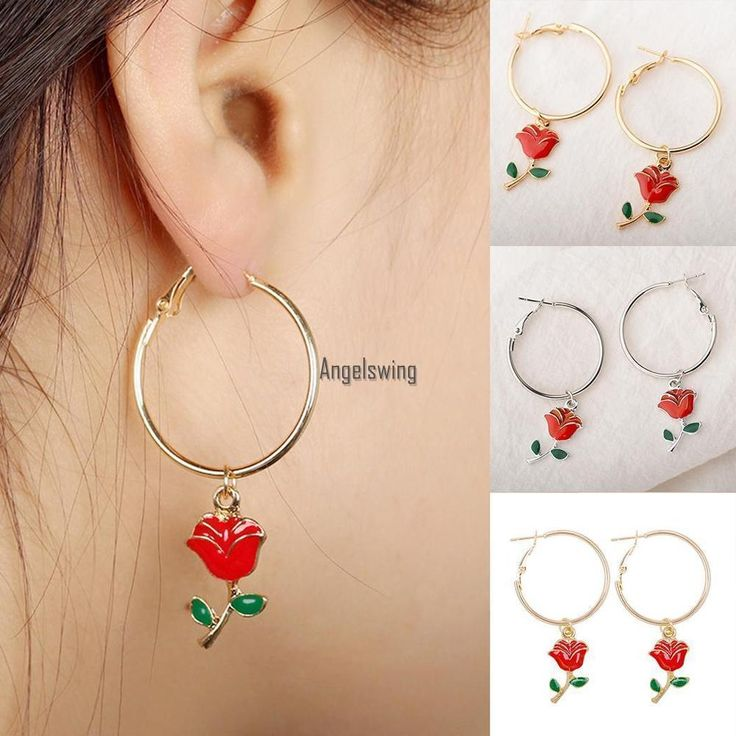 Pair Red Rose Hoop Earrings Beauty and the Beast Inspired Flower Dangle Jewelry ...