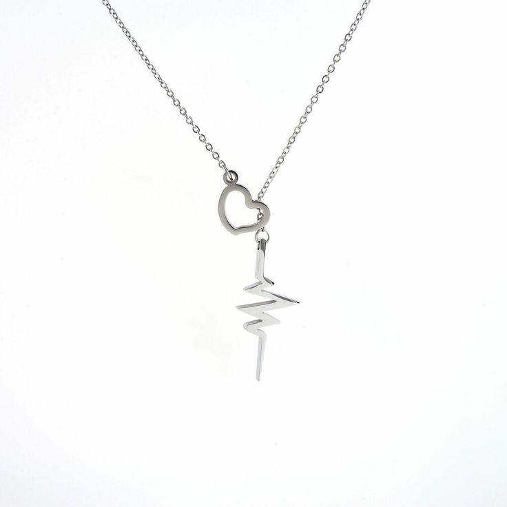 Birthday Gifts For Girls Stainless Steel EKG Lariat Necklace Heart Heartbeat Lifeline Beat Nurse Doctor