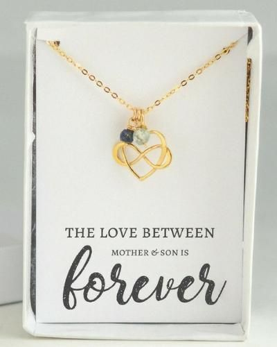 Beautiful heart shaped goldfill necklace with infinity sign accompanied by birth...