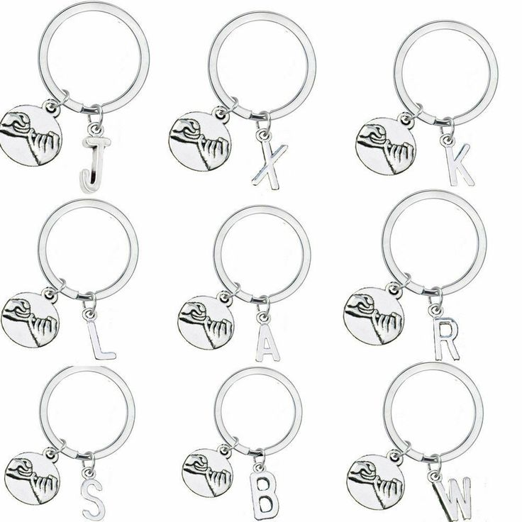 1x Personalized Initial Pinky Promise Charm Keychain Jewelry Best Friends Sister...