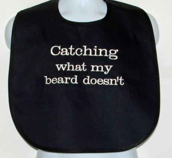 Funny Adult Bib With Pocket, Catches What Beard Misses, Custom Gag Gift, Messy E...