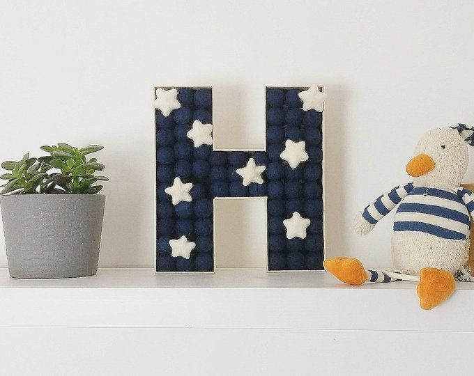Baby Mobiles Nursery Letters & Felt Ball by FridayStreetProject