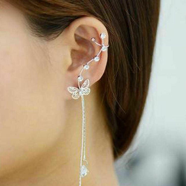 1pc Ethereal Butterfly Ear Cuff Earring Wrap Climber Rhinestone Drop Dangle Star...