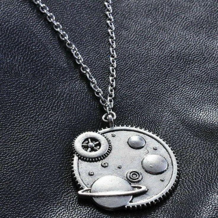Cosmos Sweater Necklace Steampunk Gear Clockwork Planet Galaxy Star Moon Silver ...
