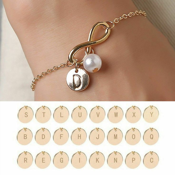 Initial Letter Infinity Love Bracelet Anklet Faux Pearl Bead Charm Sister Gold #...