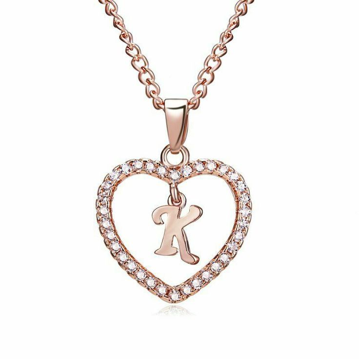 K Initial Letter Heart Necklace Pendant Charm Sister Rose Gold Cubic Zirconia #U...