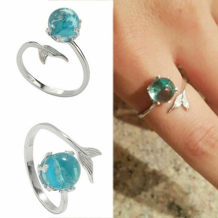 Mermaid Tail Ring Open Adjustable Fish Dolphin Turquoise Blue Orb Bubble Toe #Un...