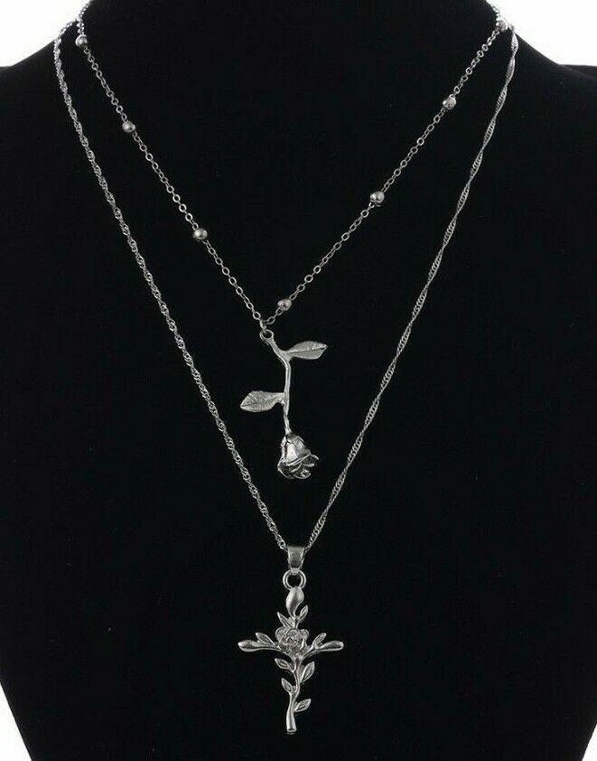 Multi Layer Rose Cross Necklace Flower Stem Boho Bohemian Love Silver Wave Chain...