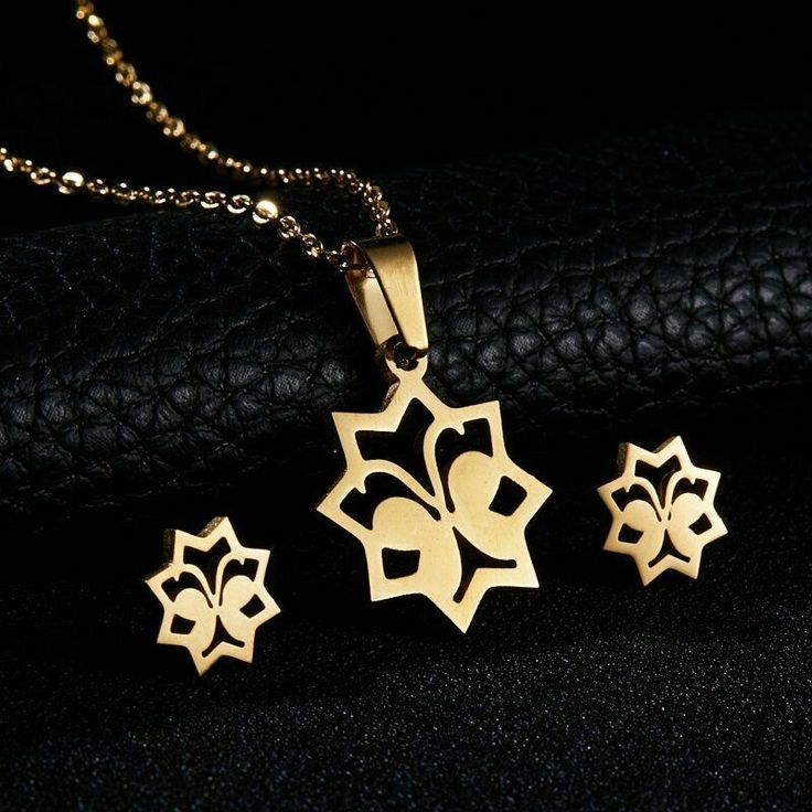 Stainless Steel Butterfly Necklace and Earrings Set Studs Star Wings Gold Tone #...
