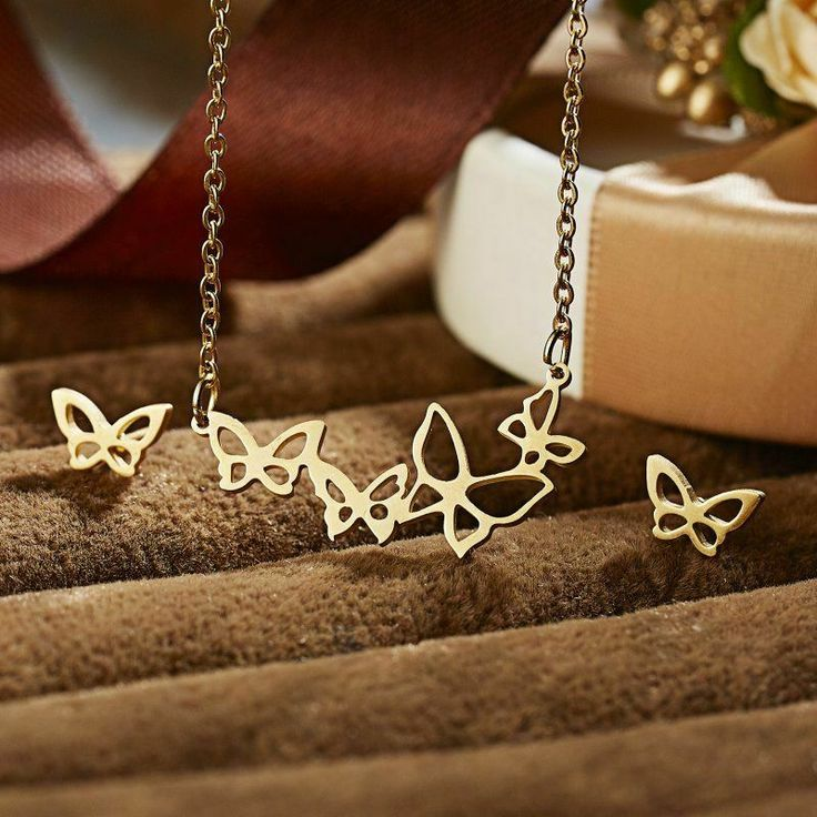 Stainless Steel Butterfly Strand Necklace and Earrings Set Studs Wings Gold Tone...