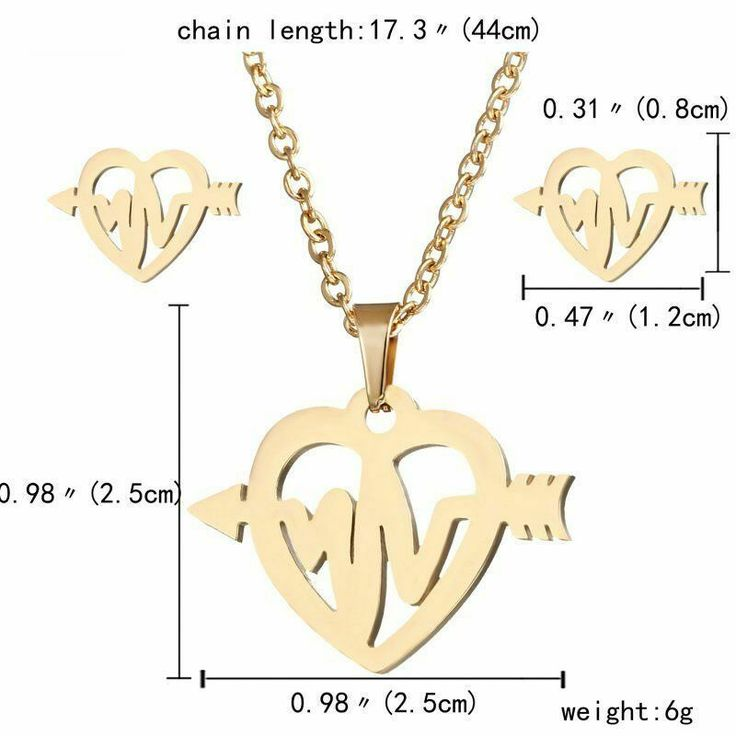 Stainless Steel EKG Necklace and Earrings Set Heartbeat Heart Nurse Gold Jewelry...