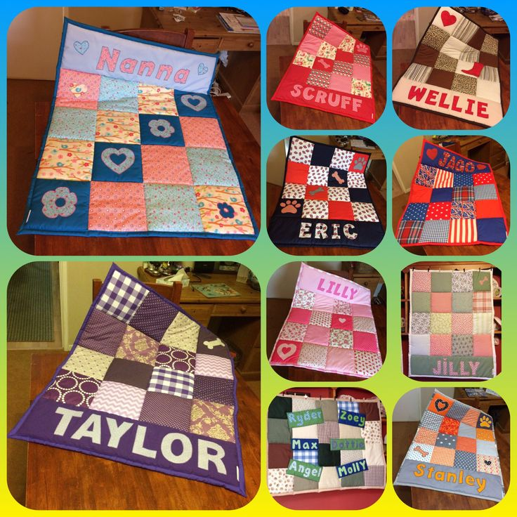 Patchwork Personalised Quilted Blanket, Baby Nursery Quilt, Sofa throw, Pet Blan...