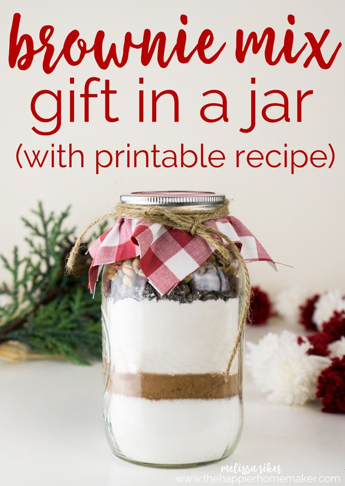 Brownie Mix in a Jar with free printable is a fun, easy DIY gift perfect for the...