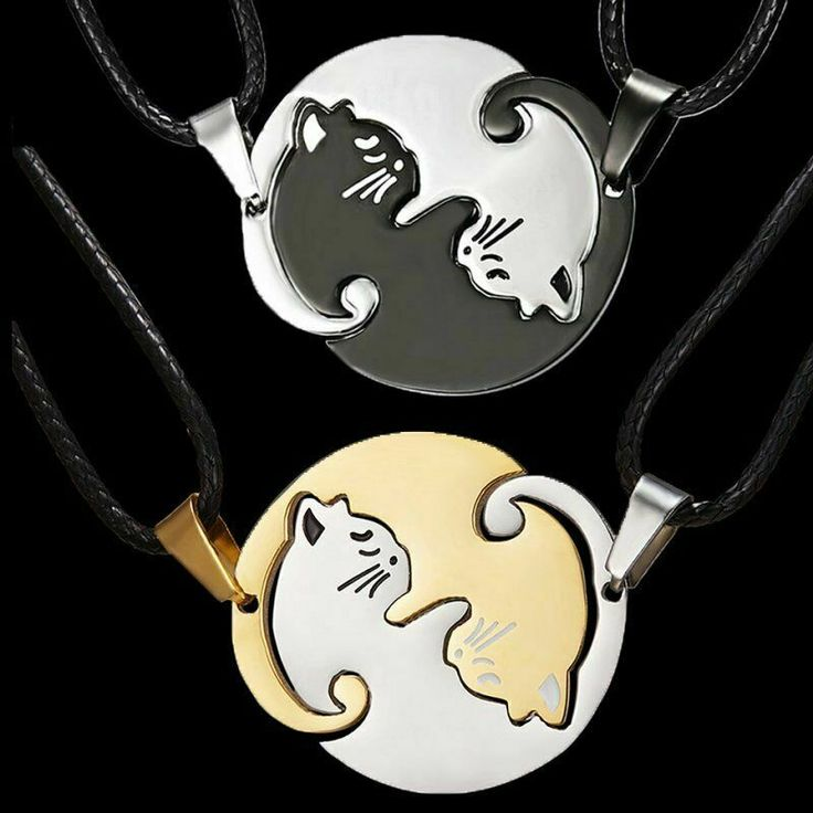 2pcs Stainless Steel Yin and Yang Cat Necklace Best Friends Couple Friendship #U...