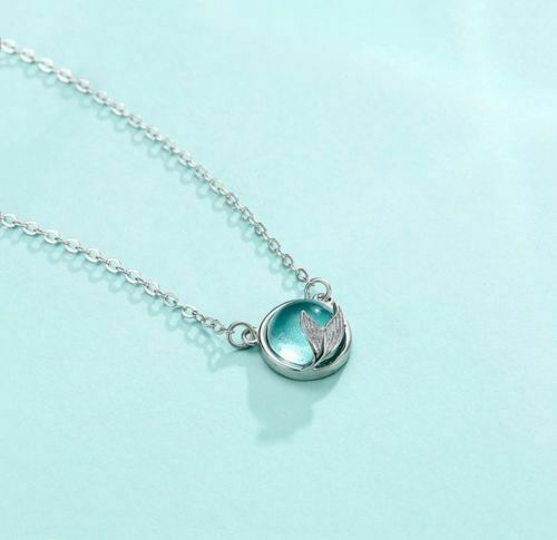 Mermaid Tail Necklace Blue Stone Bubble Crystal Dolphin Whale Fish Tale Jewelry ...