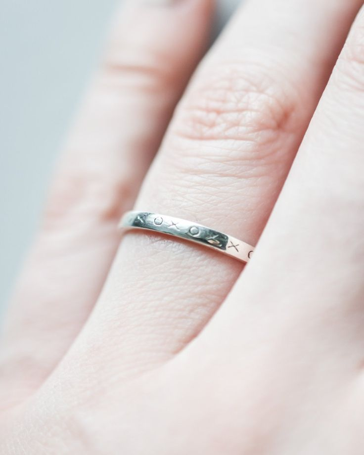 Sterling Silver XO Stacking Ring – Silver and Ivy