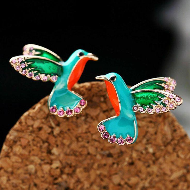 Colorful Hummingbird Earrings Pair Studs Parrot Tropical Animal Pink Rhinestones...
