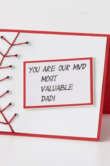 Give your 'Most Valuable Dad' a homemade baseball-theme card. This easy homemade...