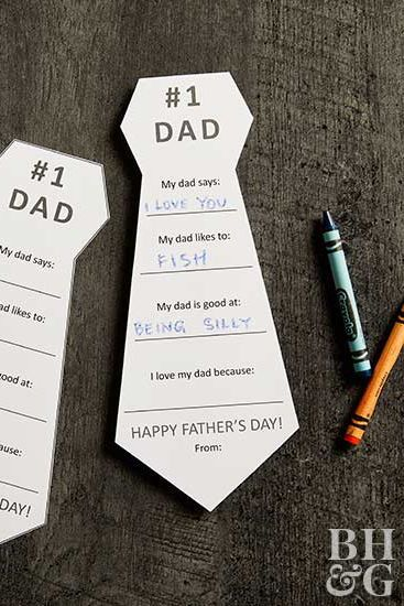 Help the kids make these sweet tie-shape cards for Dad. Print and cut out the ti...