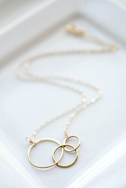 Gold circle necklace - three gold interlocking rings make a simple everyday neck...