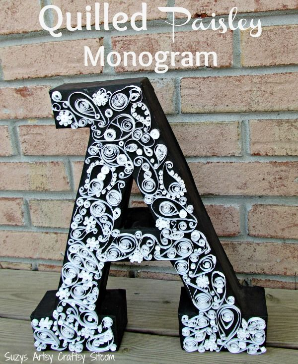 How to make a Quilled Paisley Monogram from paper and cardboard! Unique and beau...