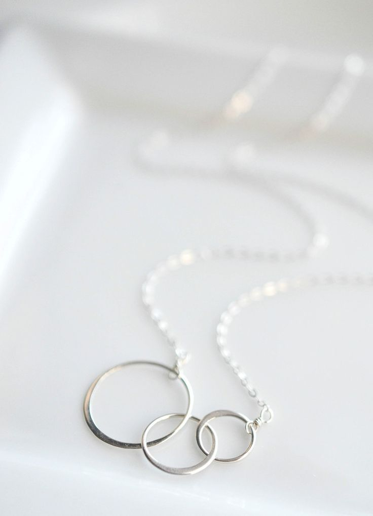 Sterling Silver Triple Interlocking Rings Necklace - Perfect everyday minimalist...