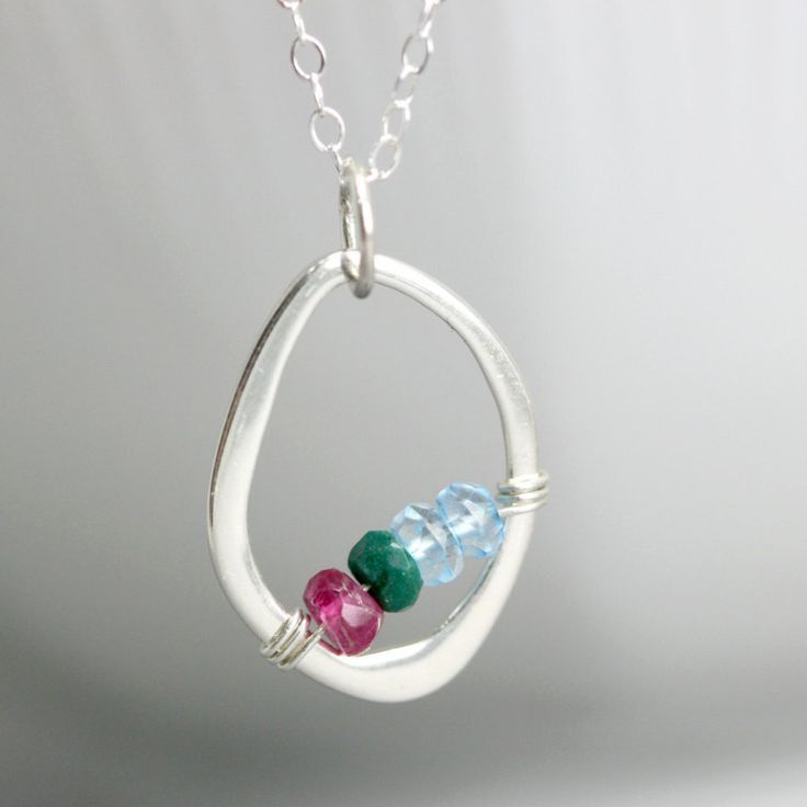 Sterling silver mothers birthstone necklace - A great mothers day gift or gift f...