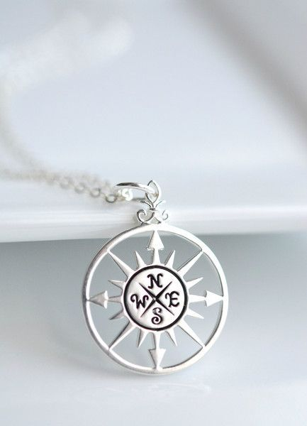 This sterling silver compass necklace will be a reminder to enjoy the journey. #...