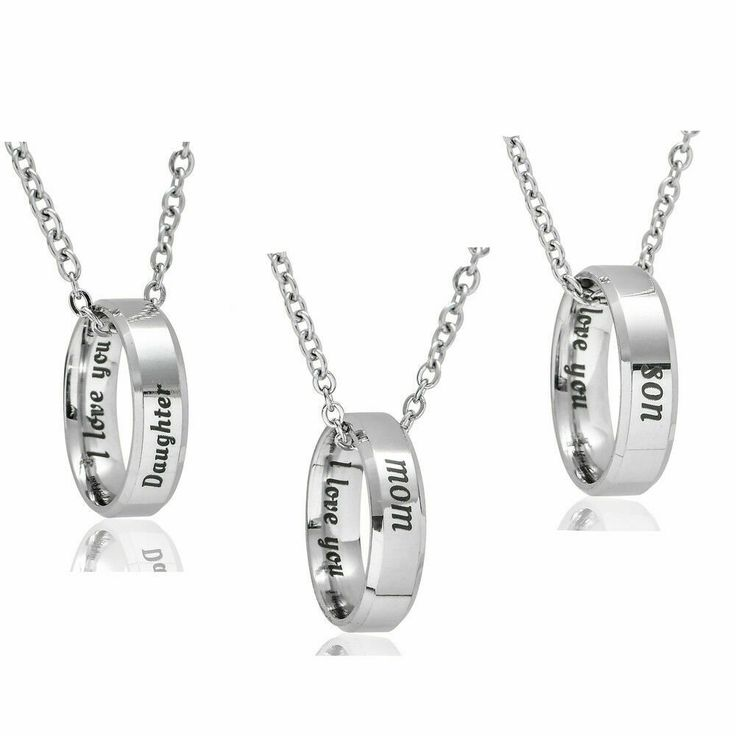 1pc Stainless Steel Ring Necklace Mom and Daughter Son Mother I Love You Family ...