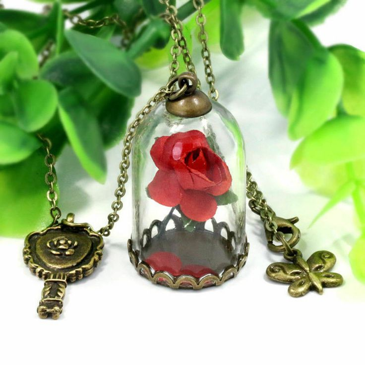 Beauty and the Beast Inspired Enchanted Red Rose Necklace Mirror Butterfly Dome ...