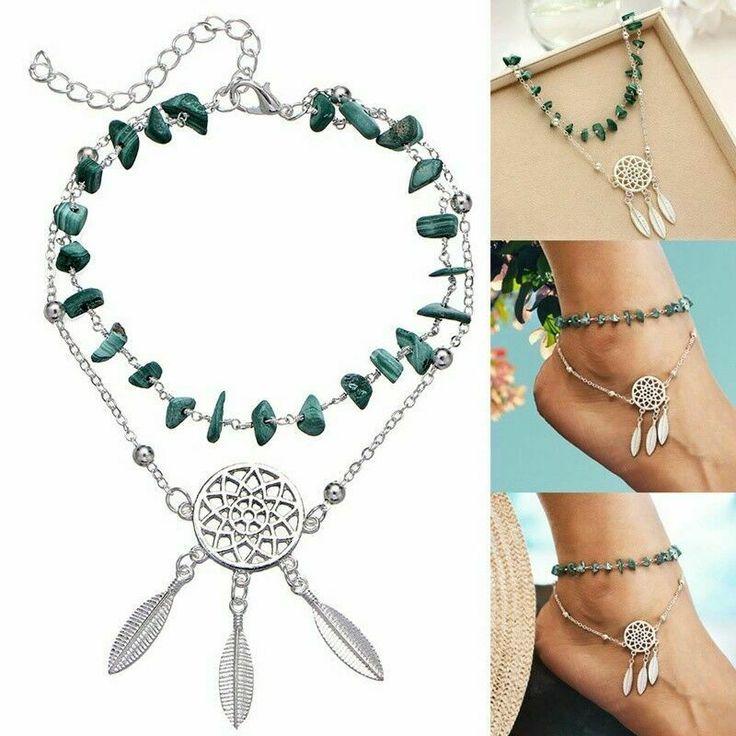 Double Layer Turquoise Dreamcatcher Anklet Beach Ankle Bracelet Boho Bohemian #U...