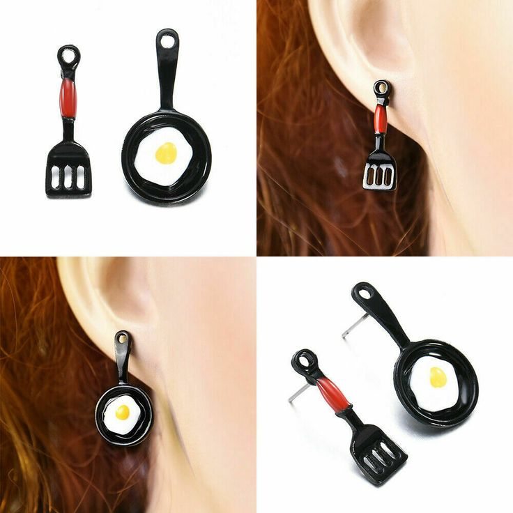 Funny Frying Pan Egg & Spatula Earrings Studs Drop Dangle Humorous Unique Gift #...