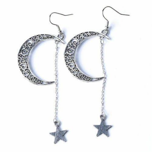 Large Moon and Shooting Stars Earrings Dangle Drop My Sun Chandelier Boho Celtic...