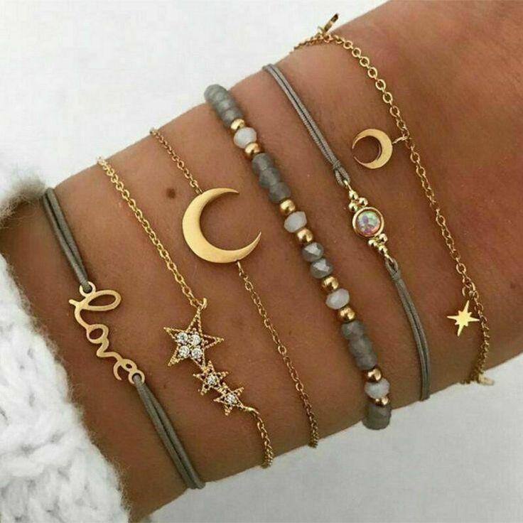 6pcs My Moon and Stars Bracelet Set Love Beaded Anklet Boho Bohemian Layered #Un...