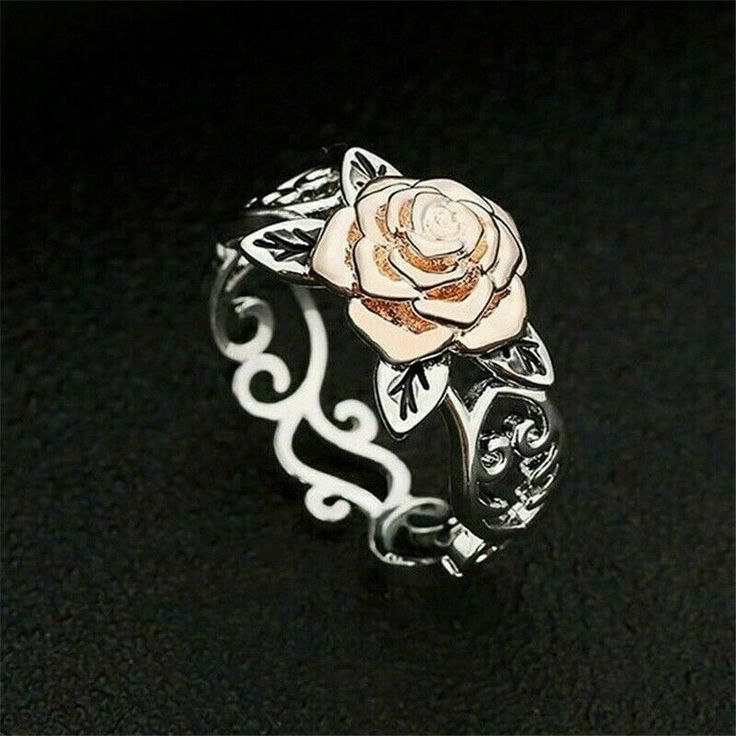 Gorgeous Rose Vine Ring Beauty and the Beast Inspired Flower Leaf Womens Size 7 ...