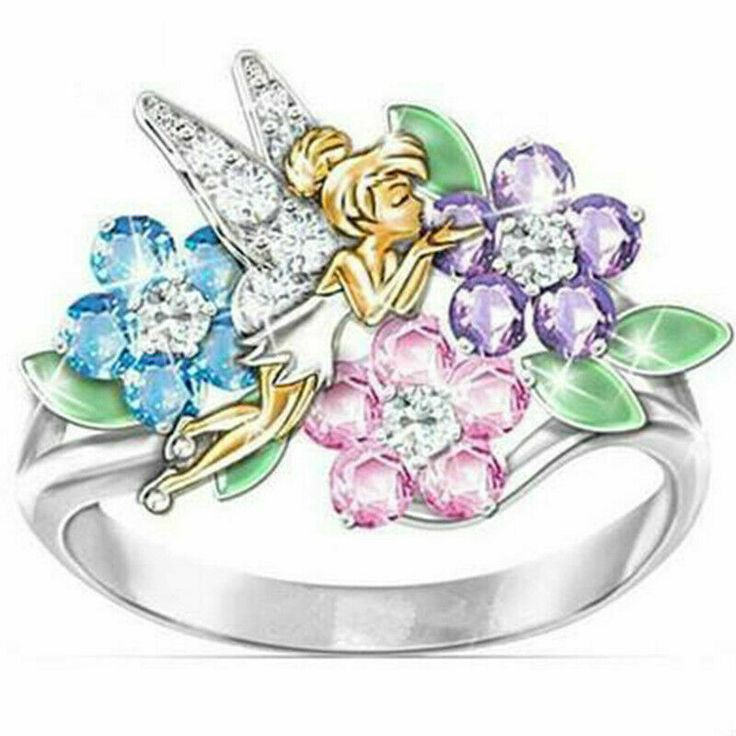 Tinkerbell Fairy Flower Ring Wings Angel Fairytale Disney Inspired Gold Plated #...