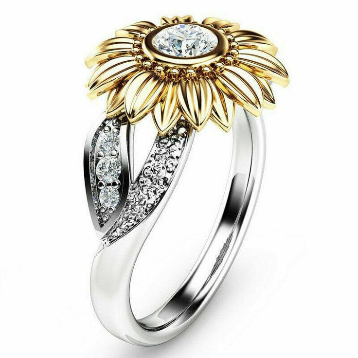 Unique Sunflower Ring Jewelry Boho Flower Bohemian Rhinestone Gold Silver Size 7...