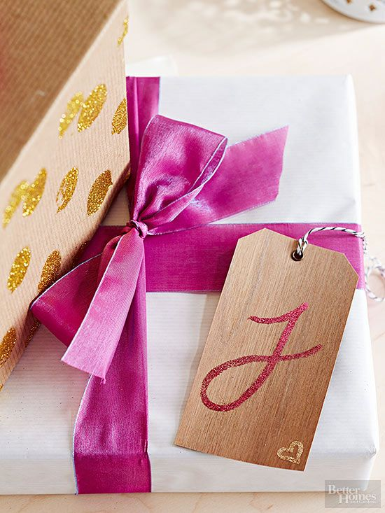 Personalize a gift package with a hand-embellished gift tag. #glittercrafts #diy...