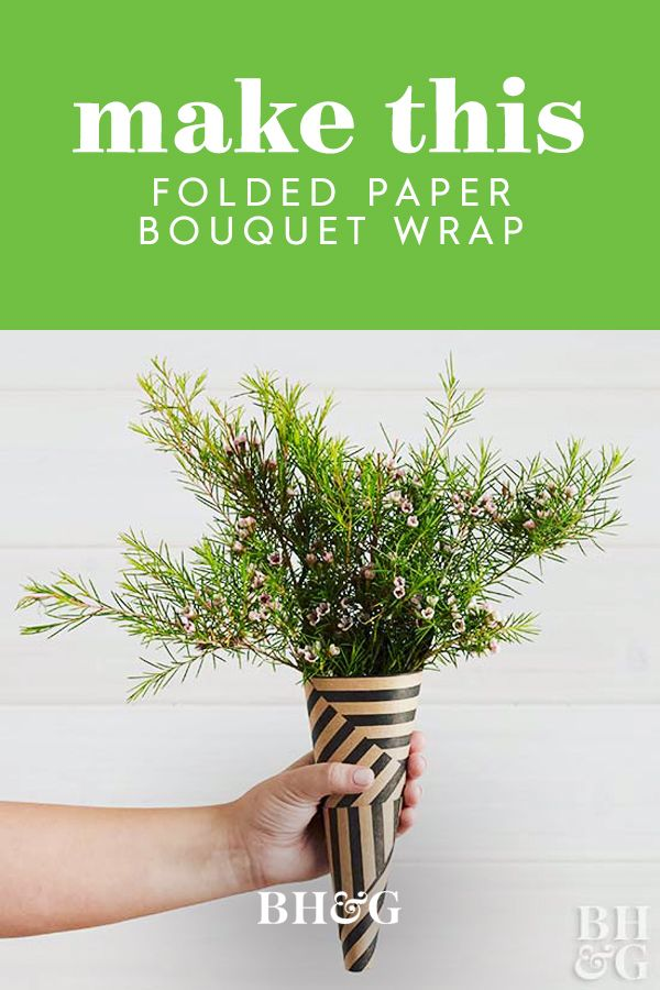 Take lined wrapping paper or patterned crafts paper and fold it into a cone to c...