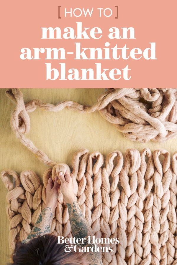 Try this trendy knitting method to create a chunky-knit DIY throw blanket. It's ...