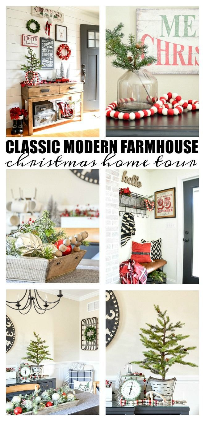 A beautiful and classic modern farmhouse decorated Christmas home tour. #christm...