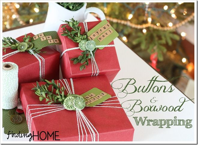 Gift Wrap Ideas: Buttons & Boxwood by Finding Home