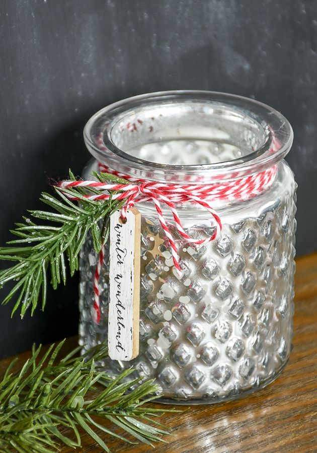 Beautiful Mercury glass votive holders from Dollar Tree get an inexpensive Chris...