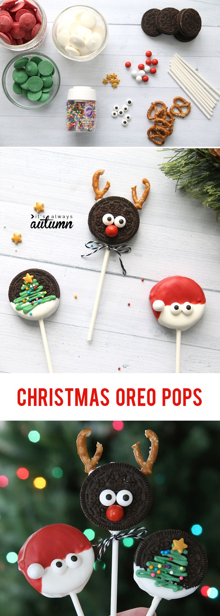 Christmas OREO pops are super cute and super easy! Fun Christmas treat to make w...