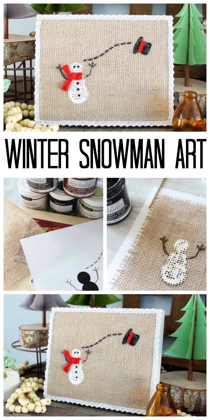 Make this winter snowman art for your home! A cute piece that you can have up fr...