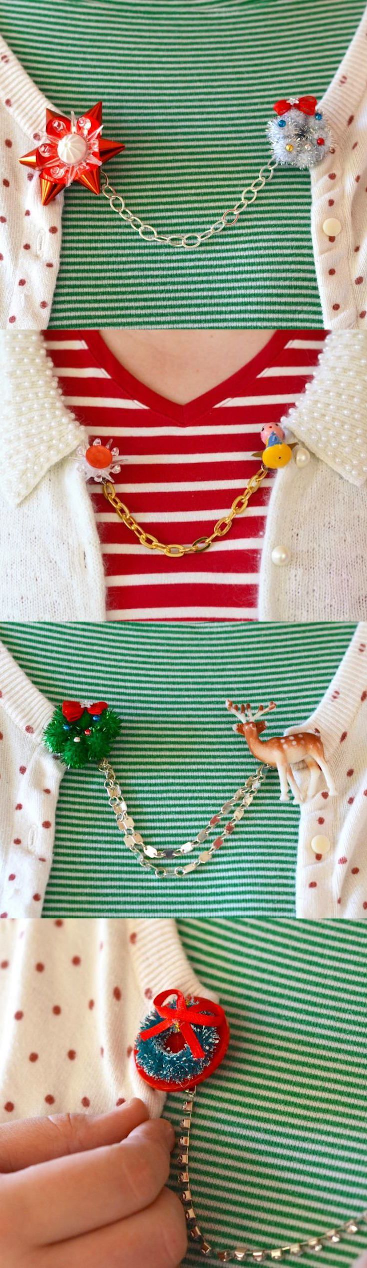 Use vintage or new holiday minis to create these unique DIY Christmas sweater cl...