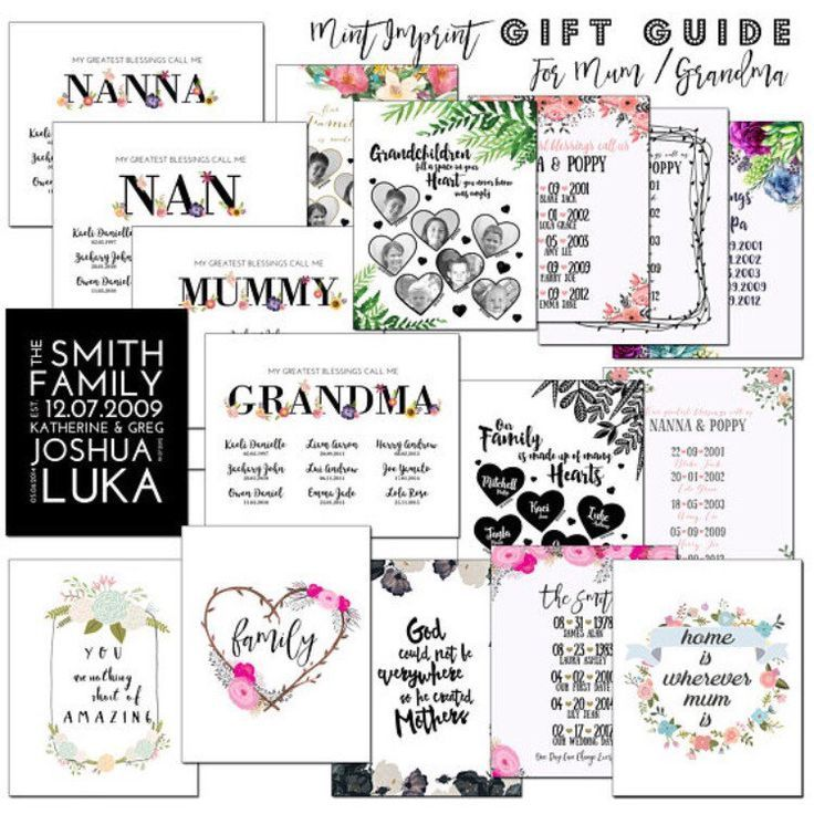 Mothers Day gifts , Keepsake prints with milestone dates, gifts for nana, person...