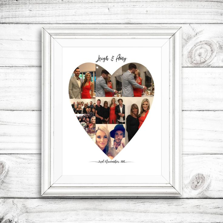 Valentine's Day, Custom Heart Photo Collage, Personalised Engagement Photo C...