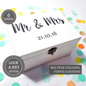 Personalised Mr & Mrs Wedding Box I Wooden 5 Year Anniversary Keepsake Box I DIY Keepsake Box